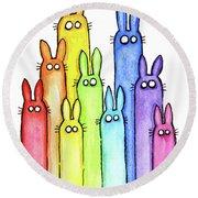 Bunny Rabbits Watercolor Rainbow Round Beach Towel