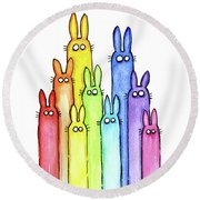 Bunny Rabbits Watercolor Rainbow Round Beach Towel