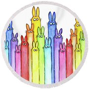 Bunny Rainbow Pattern Round Beach Towel