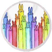 Bunny Rainbow Pattern Round Beach Towel
