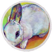 Round Beach Towel featuring the painting Bunny by Robert Phelps