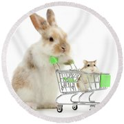 Bunny Shopping Round Beach Towel