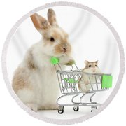 Bunny Shopping Round Beach Towel