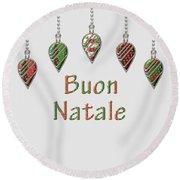 Buon Natale Italian Merry Christmas Round Beach Towel