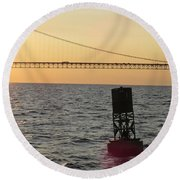 Buoy And Bridge Round Beach Towel