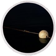Round Beach Towel featuring the photograph Buoy At Night by Stephen Mitchell