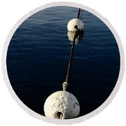 Round Beach Towel featuring the photograph Buoy Descending by Stephen Mitchell