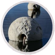 Round Beach Towel featuring the photograph Buoy In Detail by Stephen Mitchell