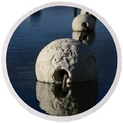 Round Beach Towel featuring the photograph Buoy Upfront by Stephen Mitchell