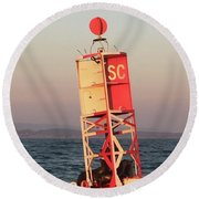 Buoy With Sea Lions Round Beach Towel