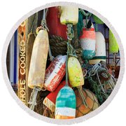 Buoys At The Crab Shack Round Beach Towel