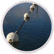 Buoys In Aligtnment Round Beach Towel