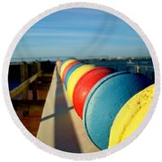 Buoys In Line Round Beach Towel