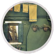 Burano - Green House Round Beach Towel