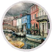 Burano In The Rain Round Beach Towel