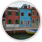 Burano Italy Boat Reflection Round Beach Towel