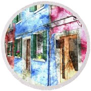 Burano Italy Buildings Round Beach Towel