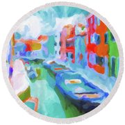 Round Beach Towel featuring the painting Burano, Venice, Italy by Chris Armytage