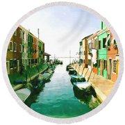 Round Beach Towel featuring the digital art Burano Venice by Kai Saarto