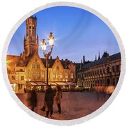 Burg Square At Night - Bruges Round Beach Towel