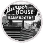 Burger House B W 062218 Round Beach Towel