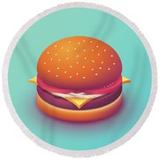 Burger Isometric - Plain Mint Round Beach Towel