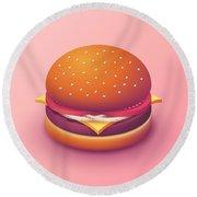 Burger Isometric - Plain Salmon Round Beach Towel