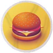 Burger Isometric - Plain Yellow Round Beach Towel