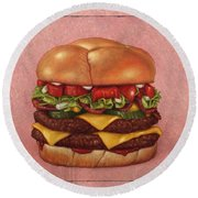 Burger Round Beach Towel
