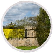 Burghley House Fortifications Round Beach Towel