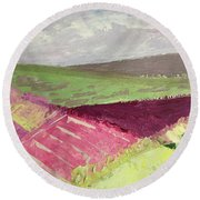 Burgundy Fields Round Beach Towel