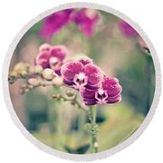 Round Beach Towel featuring the photograph Burgundy Orchids by Ana V Ramirez