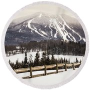 Burke Mountain And Fence Round Beach Towel