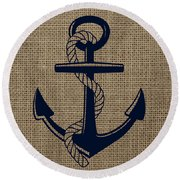 Burlap Anchor Round Beach Towel