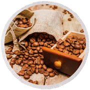 Burlap Bag Of Coffee Beans And Drawer Round Beach Towel