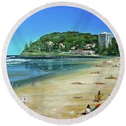 Round Beach Towel featuring the painting Burleigh Beach 100910 by Selena Boron