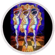Burlesque Dancers Act One Round Beach Towel