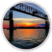 Burlington Bristol Bridge Opening At Dusk Round Beach Towel