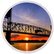 Burlington Bristol Bridge Sunset  Round Beach Towel