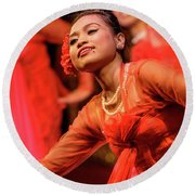 Burmese Dance 1 Round Beach Towel by Werner Padarin