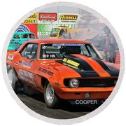 Burn Out Cooper Racing Round Beach Towel