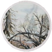 Round Beach Towel featuring the painting Burned Forest In The Snow by Ellen Levinson