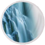 Burney Falls Close Up Round Beach Towel