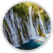 Burney Falls Round Beach Towel
