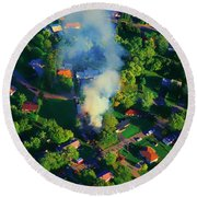 Round Beach Towel featuring the photograph Burnin Down The House Aerial Single Family Home On Fire  by Tom Jelen
