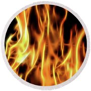 Burning Flames Fractal Round Beach Towel