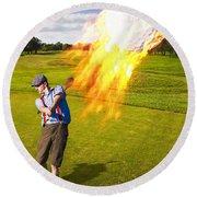 Burning Golf Ball Round Beach Towel