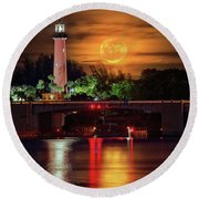 Burning Moon Rising Over Jupiter Lighthouse Round Beach Towel