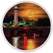 Round Beach Towel featuring the photograph Burning Moon Rising Over Jupiter Lighthouse by Justin Kelefas
