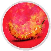 Burning Red Hot Chili Pepper. Mexican Food Round Beach Towel